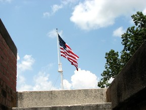 The flag flying at Fort Pulaski.  June 23, 2008.