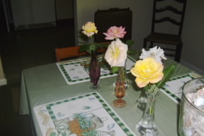 Roses on our dining room table.  September 21, 2008.
