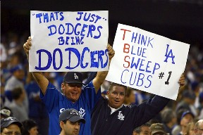 Dodgers fans celebrating the elimination of the Cubs from the playoffs.  October 4, 2008.