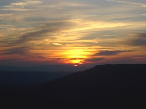 Sunset from Mt. Nebo, Arkansas.  November, 2007.