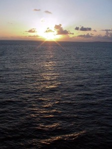 Sunrise off Antigua.  September 12, 2001.