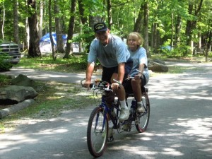 George and Betsy on a bicycle for two, Cades Cove GSMNP, Tennessee.  June, 2007.