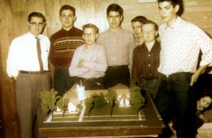 The boys of Crown Point YMF with their church model.  1953