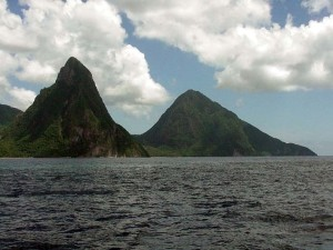 The Twin Pitons, St. Lucia.  September 13, 2001.