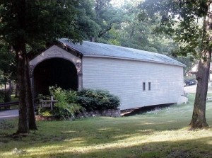 The Lake County Fairgrounds covered bridge.  July, 2002.