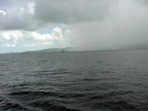 Rain moving off shore, St. Lucia.  September 13, 2001.