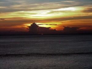 Sunset off St. Lucia.  September 13, 2001.