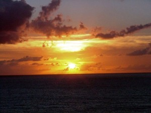 Sunset off St. Maarten.  September 11, 2001.