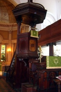 The pulpit in St. Michael's Church, Charleston, South Carolina.  June 22, 2008.