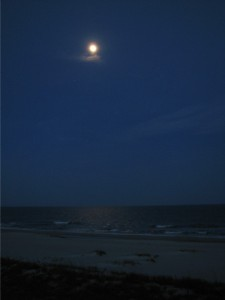 Moon over the ocean at Ocean Isle Beach, North Carolina.  May 6, 2009.