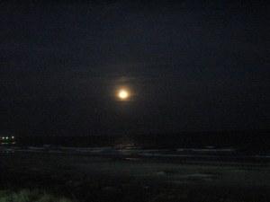 The moon over the ocean.  Ocean Isle Beach, North Carolina.  May 8, 2009.
