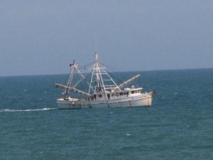 Shrimp boat off the coast of North Carolina.  May 6, 2009.