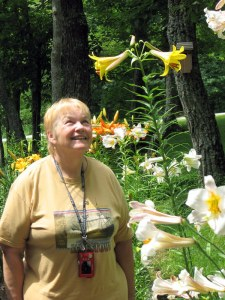 Betsy and the lilies.  Fairfield Glade, Tennessee.  June 14, 2009.