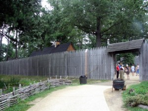 The gate at James Fort in Jamestown Settlement.  June 20, 2007.