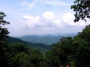 The Blue Ridge Mountains near Mount Mitchell, North Carolina.  July 11, 2009.