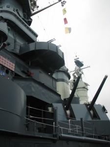 5-inch and AA guns on the North Carolina.  May, 2007.