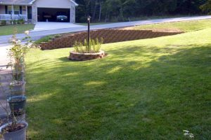 Our new retaining wall.  August 13, 2009.