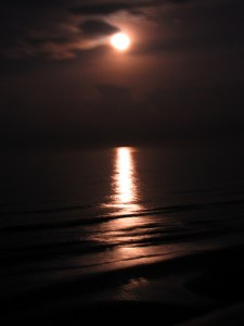 Moonrise at Ormond Beach, Florida.  August 5, 2009.