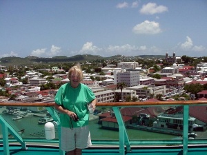 Betsy at St. John's, Antigua.  September 12, 2001.