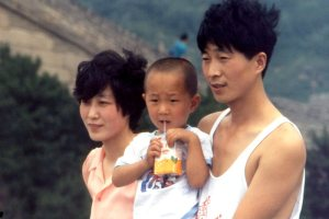 Chinese family at the Great Wall.  July, 1987.