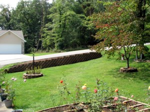 The new retaining wall in our yard.  September 7, 2009.