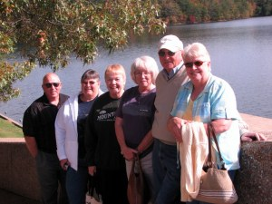 Wes, Darlene (John's sister), Betsy, Bonnie (cousin), John (Carol's husband) and Carol.  Fall Creek Falls, October 10, 2009.