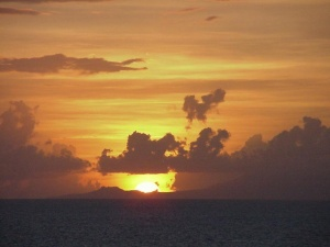 Sunset off the island of Antigua.  September 12, 2001.