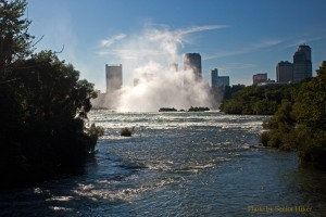 The spray from the Canadian Falls at Niagara as seen from Three Sisters Island, New York.  September 10, 2011.