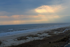 Sunbeams breaking through the clouds at Ocean Isle Beach.  December 11, 2012.