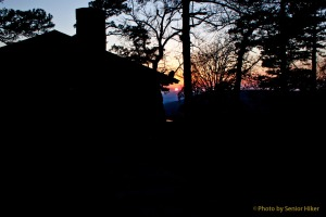 Our cabin at sunset on Mount Nebo, Arkansas.  February 27, 2012.