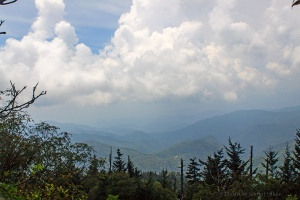Mountains and clouds at Waterrock Knob, Blue Ridge Parkway, North Carolina.  August 4, 2011.