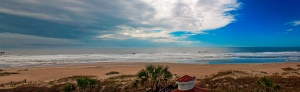 Panoramic view of Ocean Isle Beach, North Carolina, in the morning.  May 6, 2013.