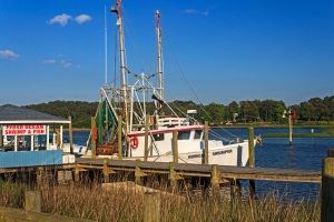 Shrimp boat tied up in Calabash, North Carolina.  May 9, 2013.