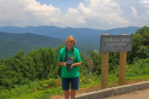 Betsy at Tanbark Ridge Overlook, Blue Ridge Parkway, North Carolina.  June 26, 2013.