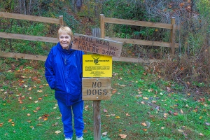 Betsy at the trailhead to Bad Branch Falls.  October 23, 2013.