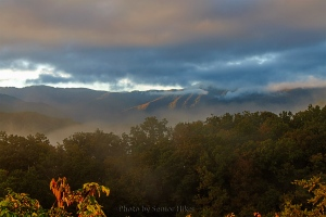 Early morning sunlight from the Gatlinburg Bypass, Gatlinburg, Tennessee.  October 14, 2013.
