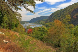 Looking toward the Potomac River from Jefferson's Rock, Harpers Ferry, West Virginia.  September 26, 2013.