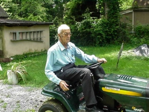 Dad and his riding lawn mower.  Hendersonville, Tennessee.