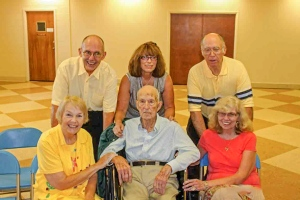 Front row:  Betsy, Dad, Bonnie (my brother's wife).  Back row:  Me, my sister Janet, and brother Ken.
