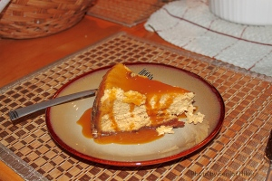 Robert's pumpkin cheesecake with caramel topping.  Palm Harbor, Florida.  November 28, 2013.