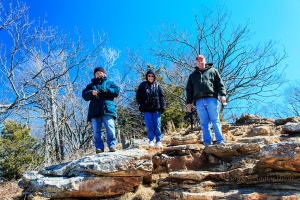 Patti, Betsy and Neal at an overlook on Mt. Magazine.  February 14, 2014.