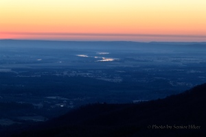 The pre-dawn view from Sunrise Point on Mt. Nebo, Arkansas.  February 27, 2014.