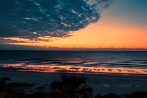 Morning light in the sky and on the beach, Ocean Isle Beach, North Carolina.  January 27, 2015.
