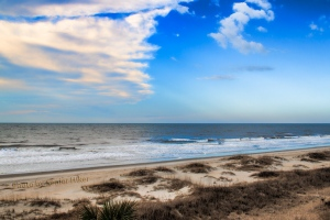 The sea and sky at Ocean Isle Beach, North Carolina.  January 26, 2015.